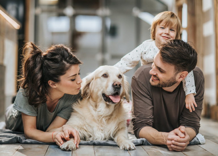 life insurance family with their dog